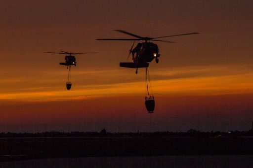 A pair of California National Guard UH-60 Black Hawk helicopters