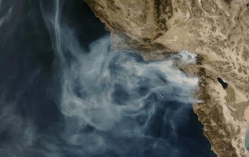 NASA CA wildfires aerial