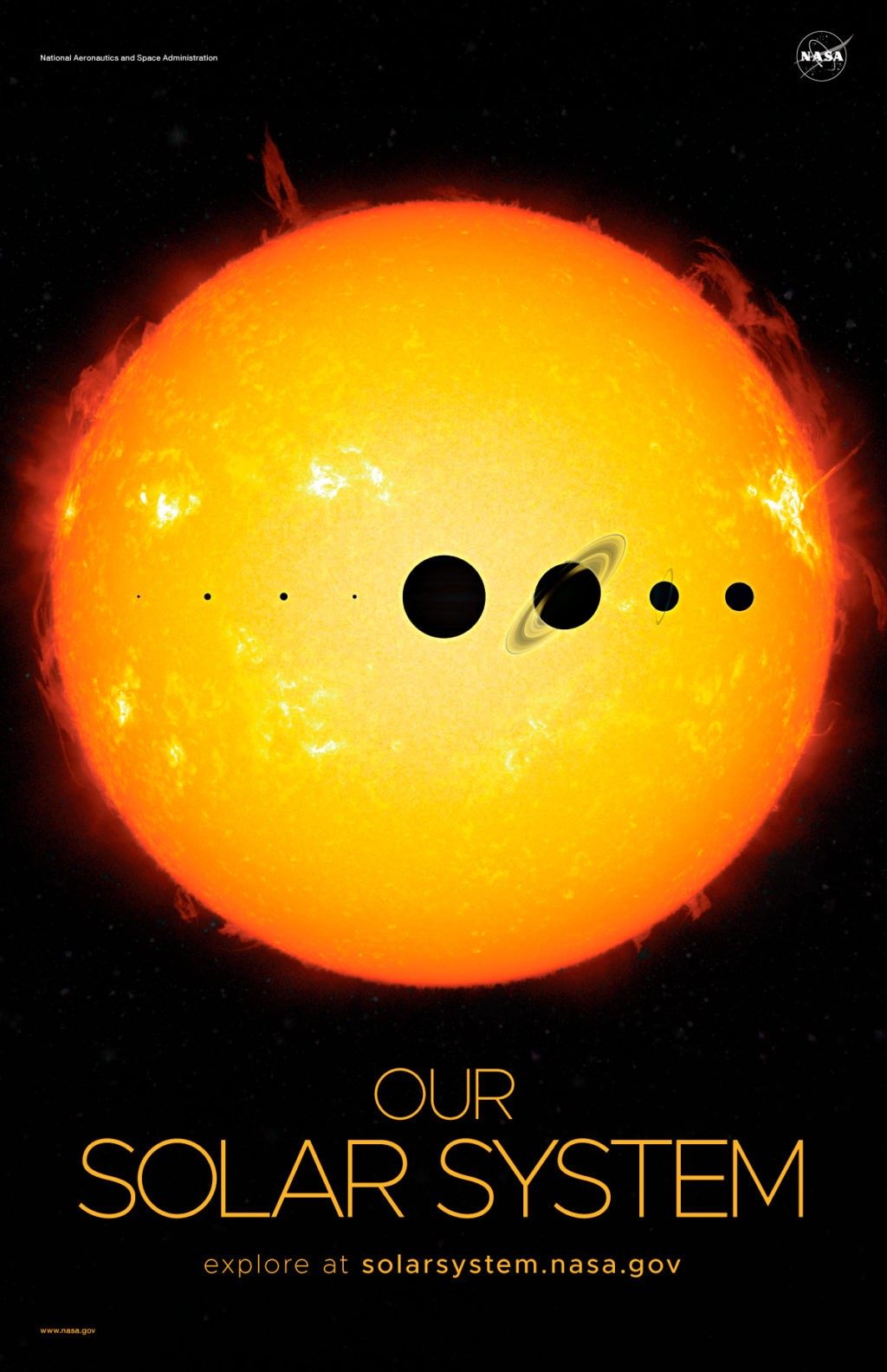 Poster of planets with sun in background to show scale