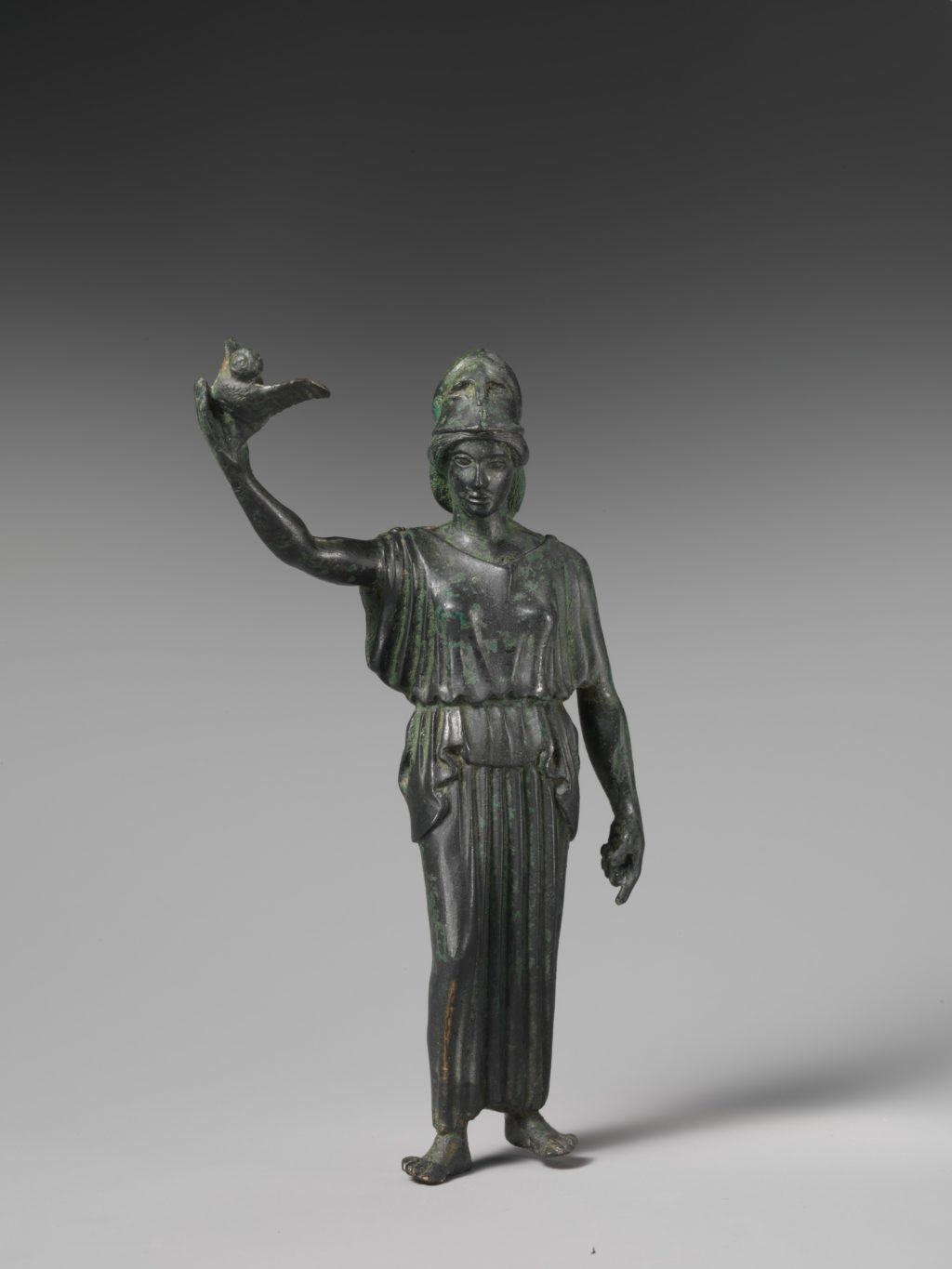 Statue of goddess Athena flying her owl