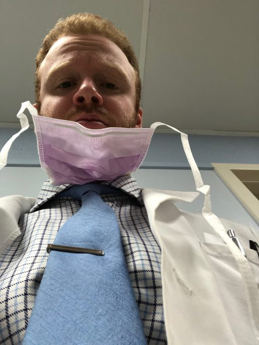 Mask almost on med student
