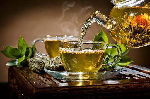 White Tea in glass teapot
