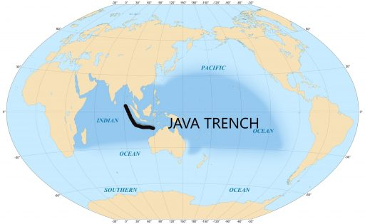 Java Trench on ocean map