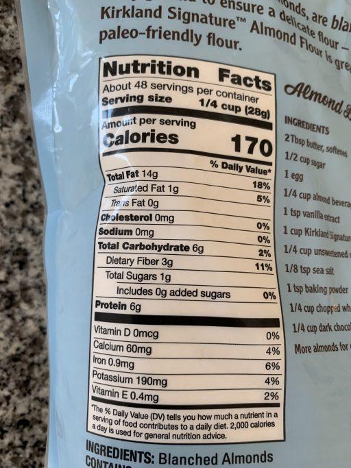 Almond flour nutritional info