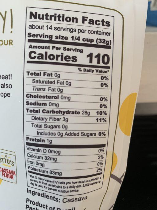 Cassava Flour nutritional info