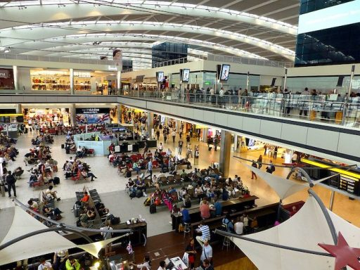 Busy airport terminal